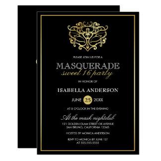 Elegant Gold & Black Masquerade Sweet 16 Party Card