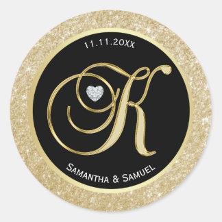 Elegant Gold Black Monogram Letter 'K' Wedding Classic Round Sticker