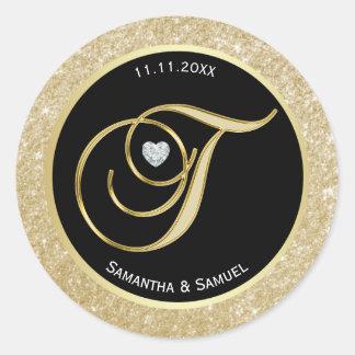 Elegant Gold Black Monogram Letter 'T' Wedding Classic Round Sticker