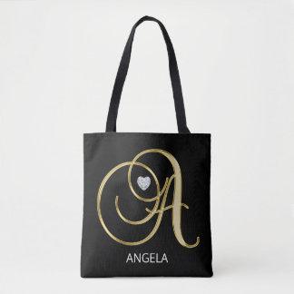 Elegant Gold Black Monogrammed Letter Initials A Tote Bag