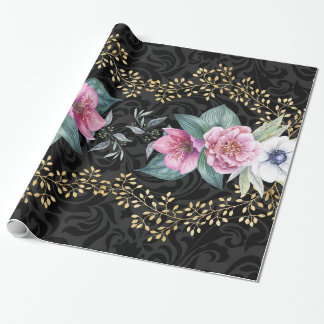 Elegant Gold Black Pink Floral Flower Gift Wrapping Paper