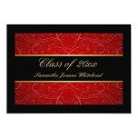 Elegant Gold/Black/Red Swirl Graduation 5x7 Paper Invitation Card