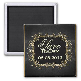 Elegant Gold black Regal formal Wedding Square Magnet
