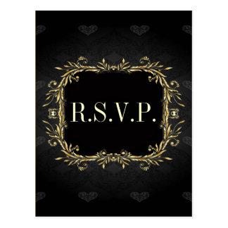 Elegant Gold black Regal formal Wedding rsvp Postcard