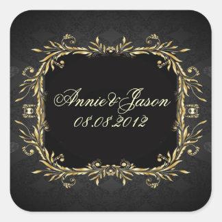 Elegant Gold black Regal formal Wedding Square Stickers