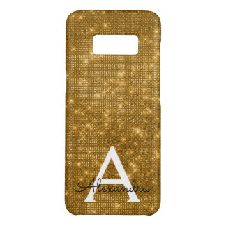 Elegant Gold  Bling Sparkle Monogram Name Case-Mate Samsung Galaxy S8 Case