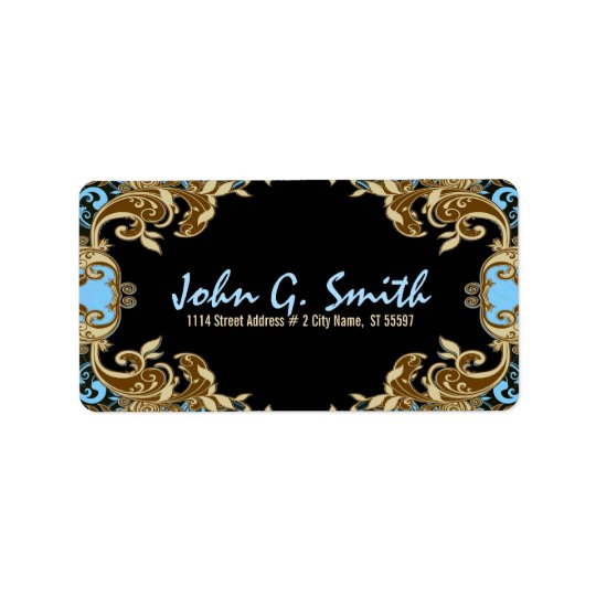 Elegant Gold, Blue & Black Vintage Floral Frame Label
