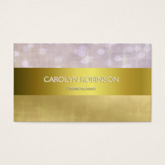 Elegant Gold Bokeh Lights with Gold Ribbon Business Card