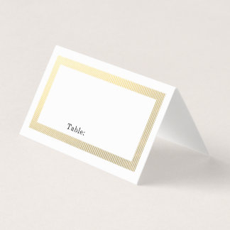Elegant Gold Border Blank Table Guest Place Card