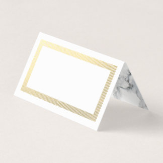 Elegant Gold Border Marble Blank Table Guest Place Card