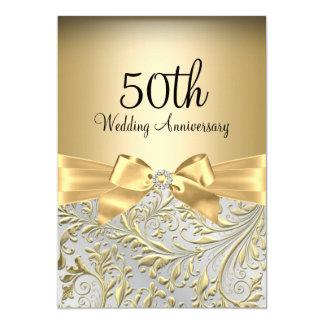 "Elegant Gold Bow & Floral Swirl 50th Anniversary 5"" X 7"" Invitation Card"