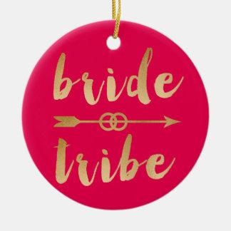 elegant gold bride tribe arrow wedding rings ceramic ornament