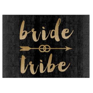 elegant gold bride tribe arrow wedding rings cutting board