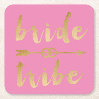 elegant gold bride tribe arrow wedding rings square paper coaster