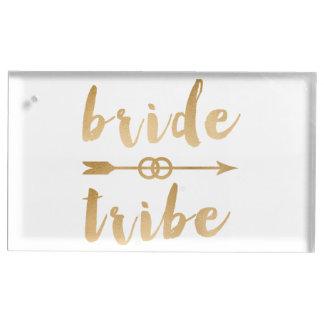 elegant gold bride tribe arrow wedding rings table card holder