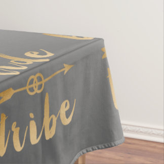 elegant gold bride tribe arrow wedding rings tablecloth