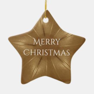 Elegant Gold Brown Christmas Kaleidoscope Star Ceramic Ornament