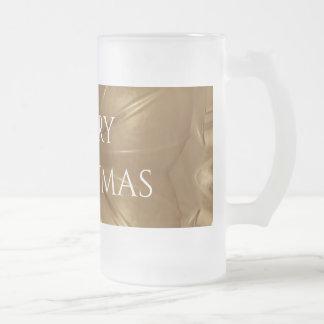 Elegant Gold Brown Christmas Kaleidoscope Star Frosted Glass Beer Mug