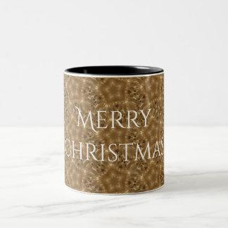 Elegant Gold Brown Christmas Kaleidoscope Star Two-Tone Coffee Mug