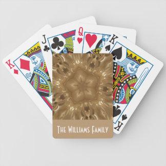 Elegant Gold Brown Kaleidoscope Star Design Bicycle Playing Cards