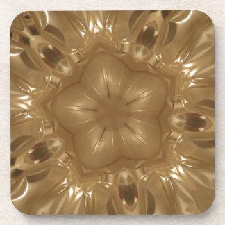 Elegant Gold Brown Kaleidoscope Star Design Coaster