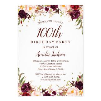 Elegant Gold Burgundy Floral 100th Birthday Party Card