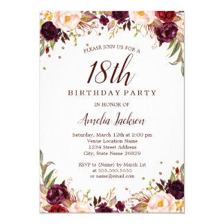 Elegant Gold Burgundy Floral 18th Birthday Party Card