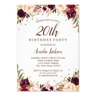 Elegant Gold Burgundy Floral 20th Birthday Party Card