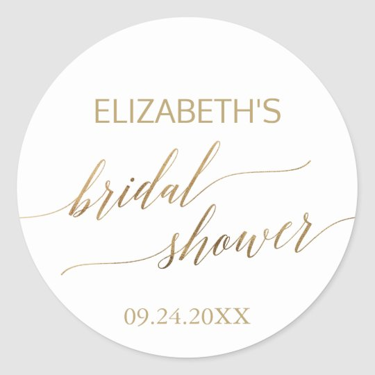 Elegant Gold Calligraphy Bridal Shower Classic Round Sticker