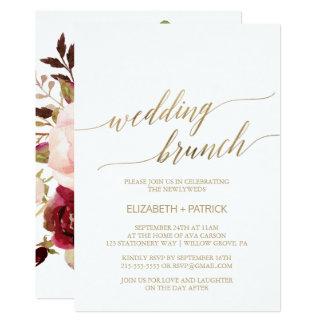 Elegant Gold Calligraphy | Floral Wedding Brunch Card