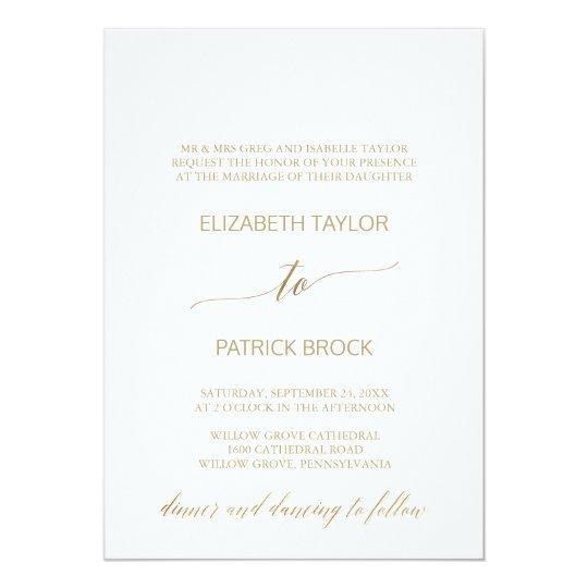 Elegant Gold Calligraphy Formal Wedding Card