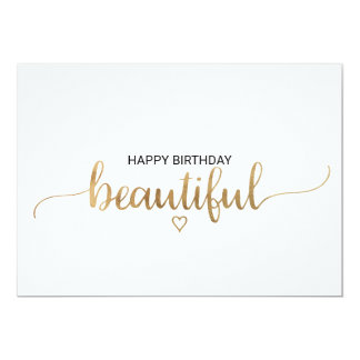 Elegant Gold Calligraphy Happy Birthday Beautiful Card