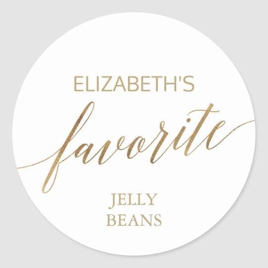 Elegant Gold Calligraphy His and Her Favourite Classic Round Sticker