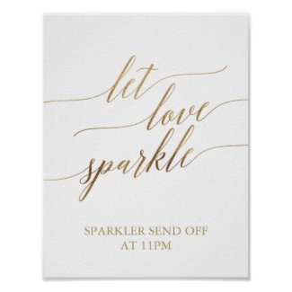 Elegant Gold Calligraphy Let Love Sparkle Sign