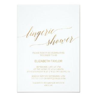 Elegant Gold Calligraphy Lingerie Shower Card