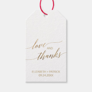 Elegant Gold Calligraphy Love & Thanks Gift Tags