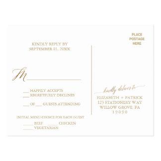 Elegant Gold Calligraphy Menu Choice RSVP Postcard