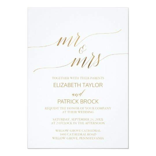 "Elegant Gold Calligraphy ""Mr & Mrs"" Wedding Card"