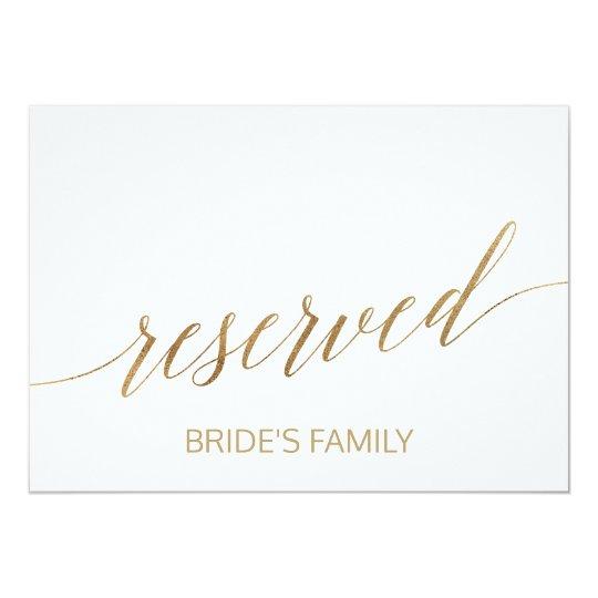 Elegant Gold Calligraphy Reserved Sign Card