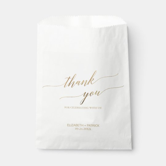 Elegant Gold Calligraphy Thank You Favour Bag