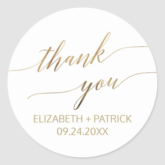 Elegant Gold Calligraphy Thank You Favour Classic Round Sticker