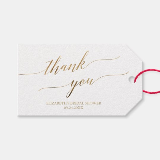 Elegant Gold Calligraphy Thank You Gift Tags