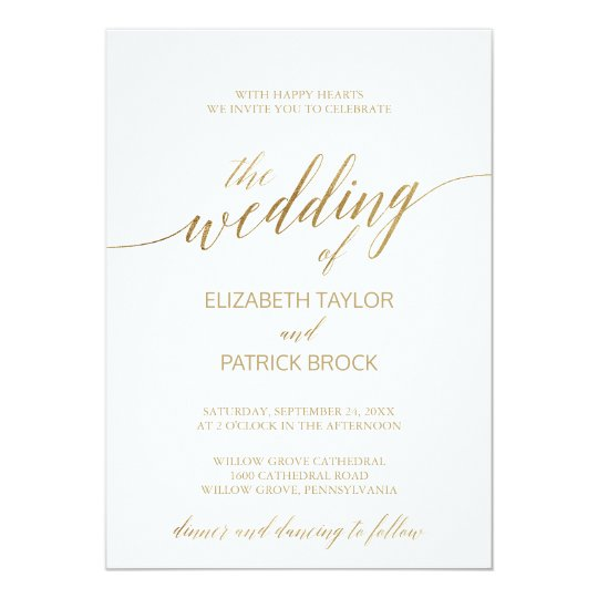 Elegant Gold Calligraphy The Wedding Of Card