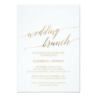 Elegant Gold Calligraphy Wedding Brunch Card