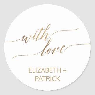 Elegant Gold Calligraphy Wedding Favor Classic Round Sticker