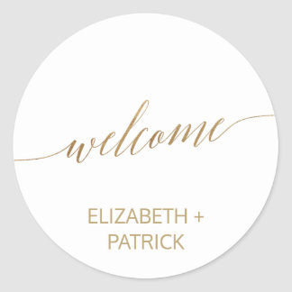 Elegant Gold Calligraphy Wedding Welcome Classic Round Sticker