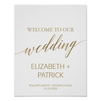 Elegant Gold Calligraphy Wedding Welcome Poster