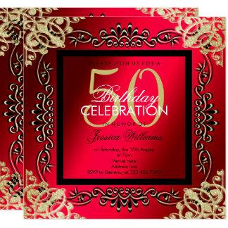 Elegant Gold & Cerise Women's 50th Birthday Card