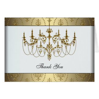Elegant Gold Chandelier Classy Gold Thank You Card