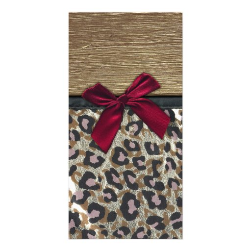 Elegant Gold Cheetah Print Photo Card